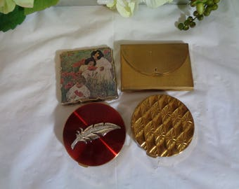 Rex Fifth Avenue Coty Japan Made in USA Compact Mirror Lot of Four Old Compacts Mid Century Resale Collect