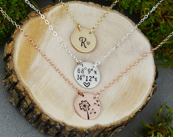 Custom Round Bar Necklace • Personalized Initial Necklace • Customized Coordinates • Sterling Silver, Rose Gold, and Gold Necklace