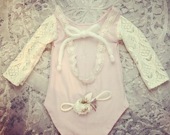 Eliana Lace sleeve pink romper set with matching headband swoop back romper