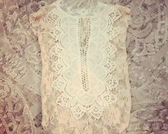 bella 3 month romper set! Peach ans lace. Vback lace back
