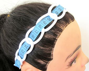 White blue recycled tape measure hairband