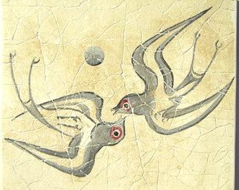 Minoan Spring  fresco painting from Akrotiri Santorini  , Museum copy for gift for her