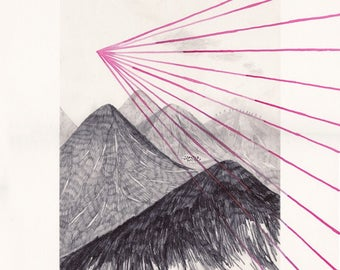 magnetic mountains: ray of light . digital prints
