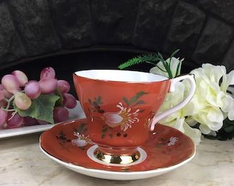 Royal Grafton Burnt Orange Teacup and Saucer Set