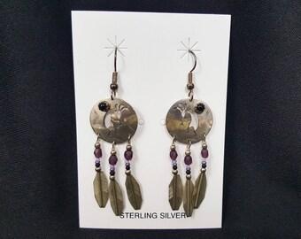 vintage Native American Kokopelli and feather dangle earrings