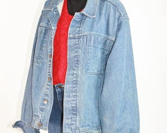Slouchy Denim Jacket / 80s Classic Jean Jacket / OS XL Oversized Fit