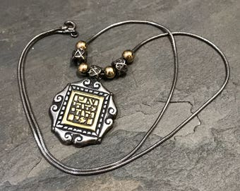 """18"""", Vintage sterling silver necklace, oxidized 925 snake chain, with two tone, 18K with sterling silver tag pendant,stamped 925 Israel LE@9"""