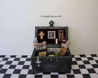 Dollhouse Miniature Gothic Spooky Vampire Hunter Slayer Trunk Chest in 1:12 scale