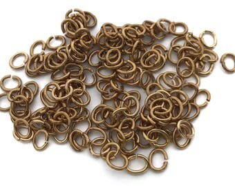 7 grams (approx. 100x) Brass 6mm Oval Jump Rings - F098