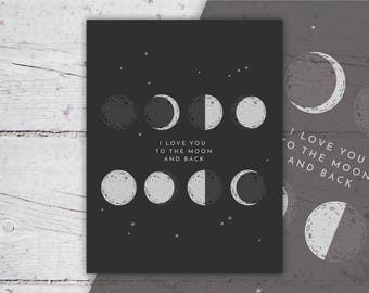 Love You To The Moon And Back   Phases of The Moon Print   Nursery Art, Wall Art   8x10   Print-It-Yourself    Digital Download   Printable