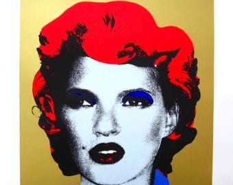 BANKSY - 'Kate Moss (gold)' - hand numbered screenprint (limited edition of 20. serigraph)