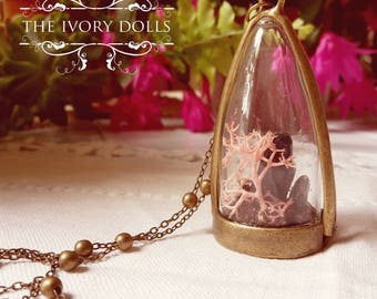 OOAK Mori Girl Terrarium Dome Necklace ~ Blue Gemstones and Pink Moss ~ Handmade by The Ivory Dolls