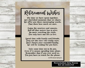 Retirement Poem Retirement Gift Co-Worker Retirement Boss