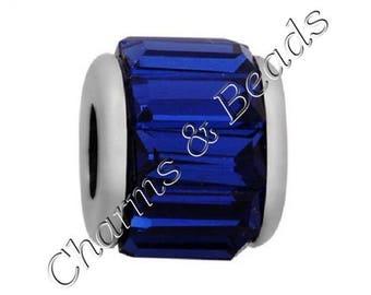 Silver 1 blue metal Crystal charm bead compatible pandor @ chamili @.