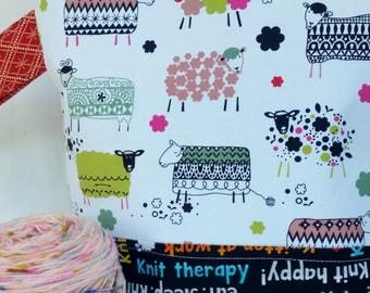 Large WIP Zipper Project Bag, Wedge Bag, Knitting Quotes, Happy Knitting Sheep Zippered Project Bag, Knitting bag, Zipper