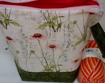 Zipper Project Bag, Spring Flowers & Herbs Inspired Knitting Bag, Large Size Shawl to Sweater Wedge Tote Bag