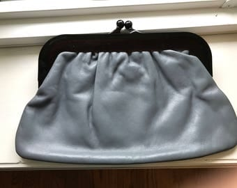 Vintage Gray Leather Clutch With Tortoise Shell Handle