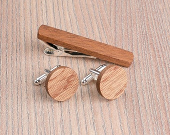Wooden tie Clip Cufflinks Set Wedding Sapele Round Cufflinks. Wood Tie Clip Cufflinks Set. Mens Wood Cuff Links, Groomsmen Cufflinks set.