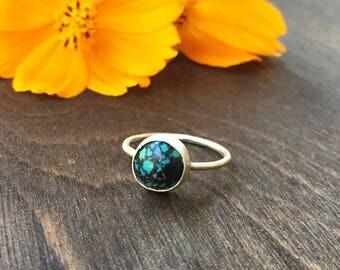 Kingman Turquoise Sterling Silver Stacking Ring