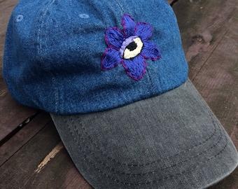 eyeball/flower denim cap