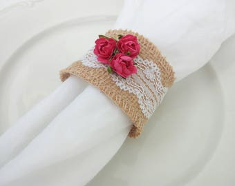 Burlap napkin rings, burlap, lace rustic, lace and roses, wedding napkin rings, rustic wedding, wedding table decor, wedding napkin rings