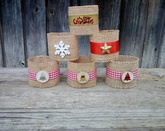 Christmas napkin rings - napkin ring rustic - Christmas set of 5 25 50 100