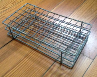 vintage metal test tube rack from 1960s laboratory