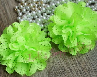 2 Neon Green Eyelet Flowers - Fabric Flowers - Vintage Chiffon Flower - Lace Flower - Wholesale flowers - Lace Roses - Eyelet Fabric Flowers
