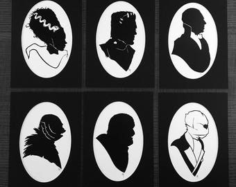 Universal Monsters silhouette print set