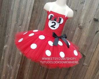 Customizable Red Minnie Mouse Inspired Tutu Dress, Red Minnie Tutu, Red Minnie Dress, Minnie Costume, Minnie Outfit, Red Minnie Mouse