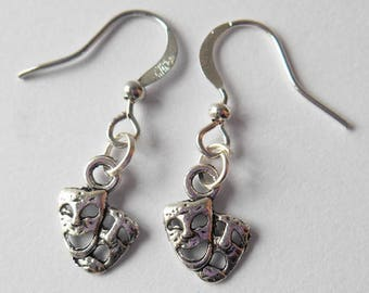 Theatre Masks Charm Earrings, Performing Arts Jewellery, Budding Actress Student Gifts, Live Performance Memorabilia, Happy Sad Faces