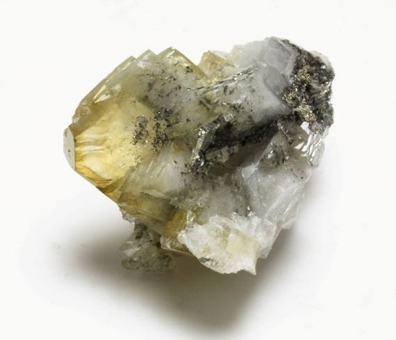 Yellow Barite Cluster with Pyrite, M-1014