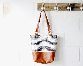 Leather Shoulder bag -Large Leather Shoulder Tote - Scandinavian Print - Bucket Bag - Hand Made in Australia