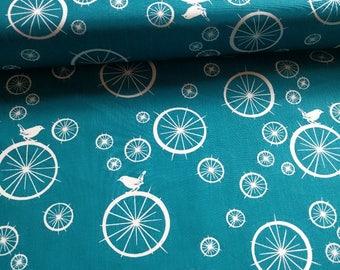 Organic Poplin cotton teal blue white birds birdie spokes Teal'c birch