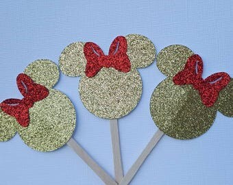 Minnie mouse cupcake toppers,  minnie mouse birthday, gold minnie mouse, food picks, Disney themed birthday