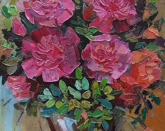 Picture Floral Fine Art Original Oil Painting-  Flowers  Home Decor