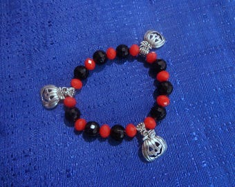 Halloween Bracelet,Jack-o-lantern Bracelet,Halloween Stretch Bracelet,Carved Pumpkin Bracelet