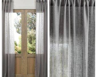 Custom Made To Order Grey Linen Curtain Panels