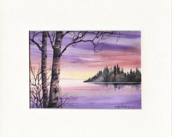 8 X 10 inch MATTED PRINT- SCENE; from an original painting of mine, mauve sunrise, island, lake, trees, wall art,
