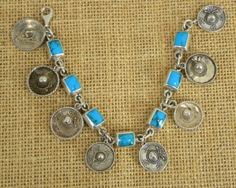Vintage Sterling Turquoise Charm Bracelet, Southwest, Country, Western, Sombrero, Mexico, Harvey Era