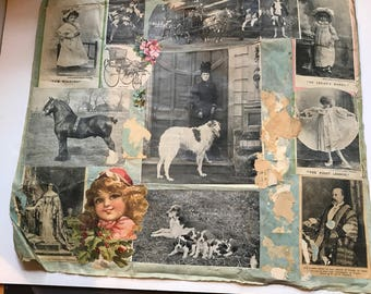 Antique Cloth Scrapbook Page with Images on Both Sides