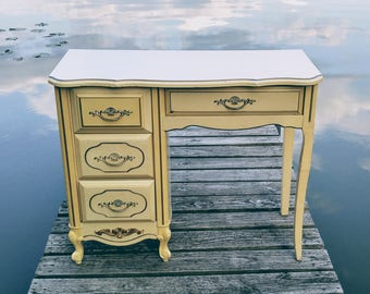 S A L E  Vintage Desk, French Provincial Style, Four Drawers, Original Hardware, Yellow and Cream Old World Charm, LOCAL Pick Up Only!!!