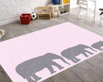 Elephant Nursery Rug, Elephant Baby Shower, Pink Elephant Nursery, Playroom Decor, Pink And Grey Nursery Decor, Girls Room Decor, Girl Gifts