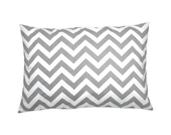 Pillow case CHEVRON gray white striped 40 x 60 cm Strip zigzag Scandinavian