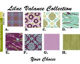 "FOR MELISSA.16"" lONG Lilac Valance. Lilac Window Treatment.Kitchen Window Valance.Valance Window Treatment.Joel Dewberry Valance"
