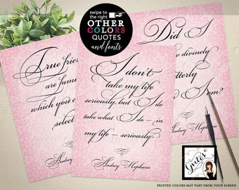"""Breakfast at Tiffany's Party Quotes Audrey Hepburn Quotes Decorations, breakfast at bridal shower signs 5x7"""" CUSTOMIZABLE Set of 3"""