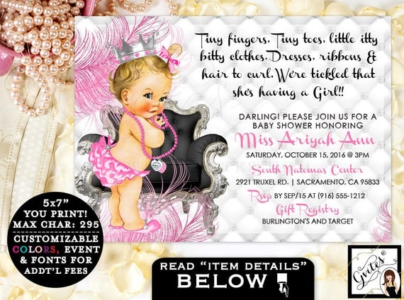 Tickled Pink Baby Shower Invitations, pink and silver,  tiny fingers, tiny toes, princess, diamonds pearls, baby girl invites 7x5, Gvites.