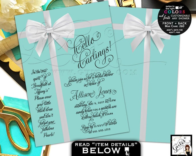 Bridal Shower invitations, Turquoise Blue Audrey Hepburn invitation, customizable any shower. PRINTABLE 5x7 double sided.