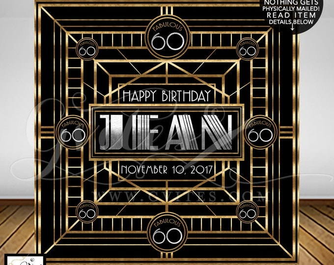 60th Great Gatsby Backdrop, birthday backdrops, personalized customizable Gatsby wall backdrop poster, READ item details below!