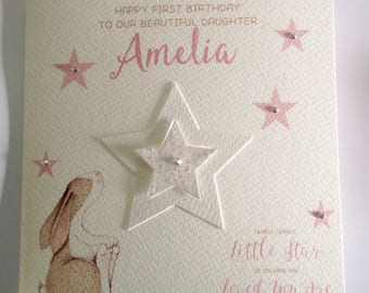 Cute Personalised Watercolour 1st Birthday Card Daughter, Granddaughter, Niece, 2nd  3rd 4th 5th 6th Pink With Bunny